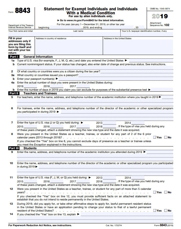 IRS form 8843 for 2019