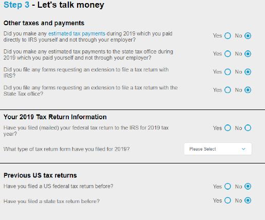 Sprintax Step 3 - Let's Talk Money