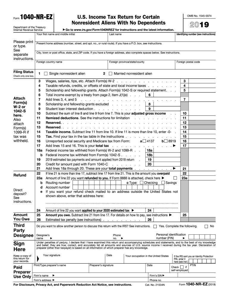 1040 NR EZ tax form example 2019