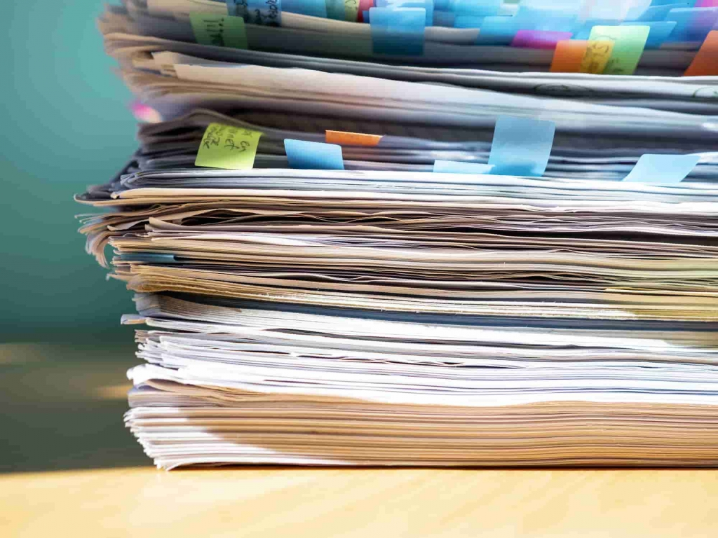 a pile of tax documents